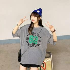 カジュアル プリント Tシャツ 8044 (GRY)