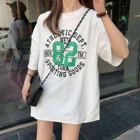カジュアル プリント Tシャツ 8044 (WHT)