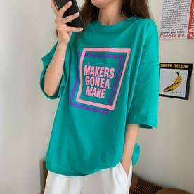 レタリングプリント 半袖Tシャツ 8066 (GRN)