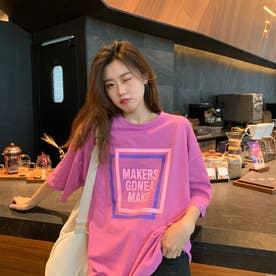 レタリングプリント 半袖Tシャツ 8066 (PNK)