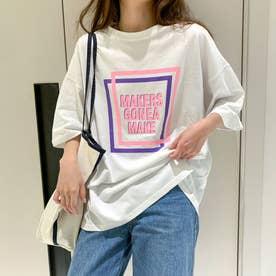 レタリングプリント 半袖Tシャツ 8066 (WHT)