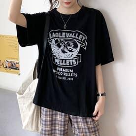 カジュアル プリント Tシャツ 8105 (BLK)