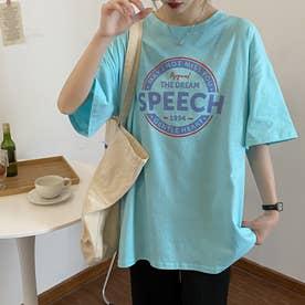 カジュアル プリント 半袖Tシャツ 8106 (BLU)
