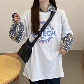 カジュアル プリント 半袖Tシャツ 8106 (WHT)