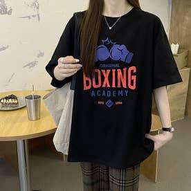 BOXINGプリント Tシャツ 8107 (BLK)