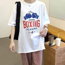 BOXINGプリント Tシャツ 8107 (WHT)