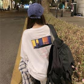 バックフォトプリント フロントレタリングTシャツ 8228 (WHT)