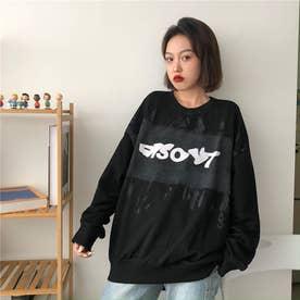 カジュアルプリント ロングTシャツ 8229 (BLK)