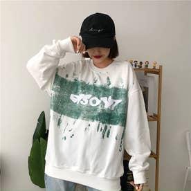 カジュアルプリント ロングTシャツ 8229 (WHT)