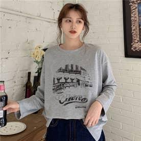 フロントプリント ロングTシャツ 8223 (GRY)