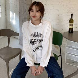 フロントプリント ロングTシャツ 8223 (WHT)
