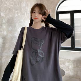 フロントユニークプリント レイヤードロングTシャツ 8226 (GRY)