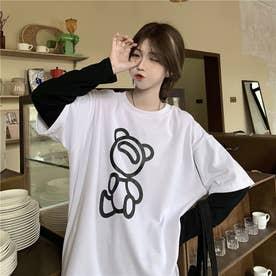 フロントユニークプリント レイヤードロングTシャツ 8226 (WHT)
