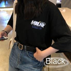 カジュアルプリントTシャツ 6164 (BLK)