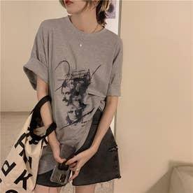 フロントユニークプリント Tシャツ 8278 (GRY)