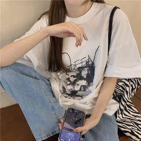 フロントユニークプリント Tシャツ 8278 (WHT)