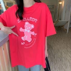 オーバーサイズ くまさんプリントTシャツ 8290 (PNK)