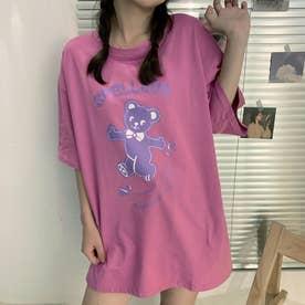 オーバーサイズ くまさんプリントTシャツ 8290 (PPL)
