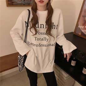 レタリングプリント サイドスリット ロングTシャツ 8281 (WHT)