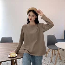 クルーネック ワンポイントロングTシャツ 8330 (BEG)