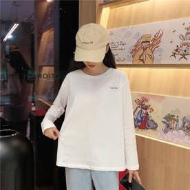 クルーネック ワンポイントロングTシャツ 8330 (WHT)