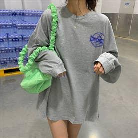 ダメージ加工 ロゴプリントロングTシャツ 8331 (GRY)