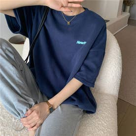 オーバーサイズ ロゴプリントTシャツ 8368 (NVY)