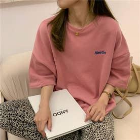 オーバーサイズ ロゴプリントTシャツ 8368 (PNK)