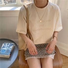 フロントロゴ エンボス加工 半袖Tシャツ 8418 (BEG)