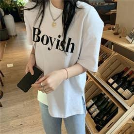 フロントロゴ カジュアルサイドスリットTシャツ 8416 (WHT)