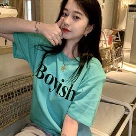フロントロゴ カジュアルサイドスリットTシャツ 8416 (BLU)