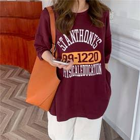 カジュアルロゴプリントTシャツ 8421 (WINE)