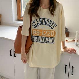 カジュアルロゴプリントTシャツ 8421 (YEL)