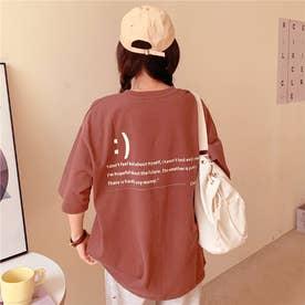 フロント刺繍・バックレタリングプリントTシャツ 8396 (BRW)