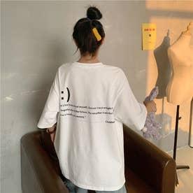 フロント刺繍・バックレタリングプリントTシャツ 8396 (WHT)