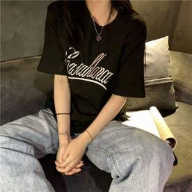 フロントロゴ刺繍スリットTシャツ 8406 (BLK)