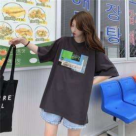 フロントプリント Tシャツ 8398 (GRY)