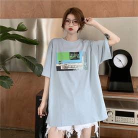 フロントプリント Tシャツ 8398 (BLU)
