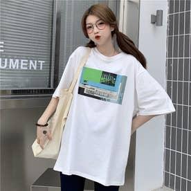 フロントプリント Tシャツ 8398 (WHT)