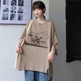 サイドスリット 点描プリントTシャツ 8401 (BEG)