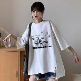 サイドスリット 点描プリントTシャツ 8401 (WHT)