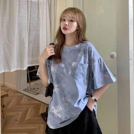 タイダイ柄 胸ポケットTシャツ 8395 (BLU)