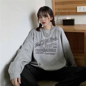 レタリングプリントロングTシャツ 8499 (GRY)
