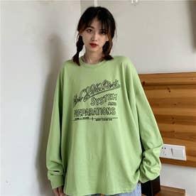 レタリングプリントロングTシャツ 8499 (GRN)