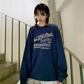 レタリングプリントロングTシャツ 8499 (NVY)