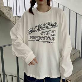 レタリングプリントロングTシャツ 8499 (WHT)