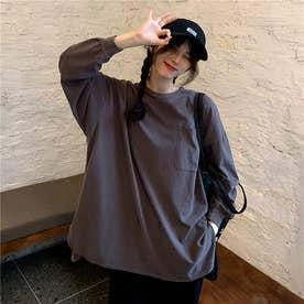 ベーシックデザイン サイドスリット ロングTシャツ 8627 (GRY)
