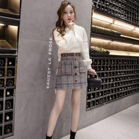 ベルト付 グレンチェック スカートパンツ (BLK)