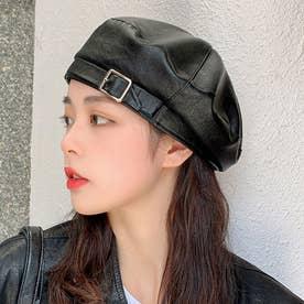 フェイクレザー ベレー帽 7842 (BLK)