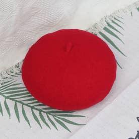 ウール混 ベレー帽  7819 (RED)